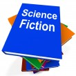 Stockfoto: Science Fiction Book Stack Shows SciFi Books