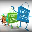 Stock Photo: Buy Local Bags Represent Neighborhood Business and Market