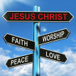 Stock Photo: Jesus Christ Signpost Means Faith Worship Peace And Love
