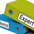 Stock Photo: Expert Novice Folders MeLearner And Advanced