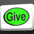 Stock Photo: Give Button Means Bestowed Allot Or Grant