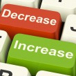 Stock Photo: Decrease Increase Keys Shows Decreasing Or Increasing