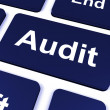 Stock Photo: Audit Key Shows Auditor Validation Or Inspection