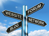 Website Forum Blog Network Signpost Shows Internet — Stock Photo
