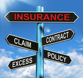 Insurance Signpost Mean Claim Excess Contract And Policy — Stock Photo