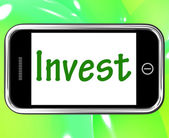 Invest Smartphone Shows Internet Investment And Returns — Stock Photo