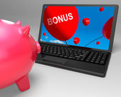 Bonus Laptop Shows Perks Rewards And Extras — Stock Photo