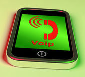 Voip On Phone Shows Voice Over Internet Protocol Or Ip Telephony — Stock Photo