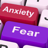 Anxiety Fear Keys Means Anxious And Afraid — Stock Photo