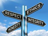 Respect éthique intégrité honnête signpost signifie bonnes qualités — Photo