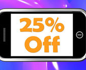 Twenty Five Percent Phone Shows Sale Discount Or 25 Off — Stock Photo