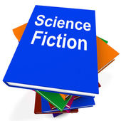 Science Fiction Book Stack Shows SciFi Books — Stok fotoğraf