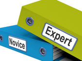 Expert Novice Folders Mean Learner And Advanced — Stock Photo