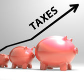 Taxes Arrow Shows Higher Taxation And Levies — Stock Photo