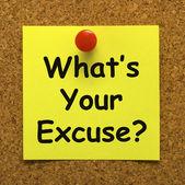 What's Your Excuse Means Explain Procrastination — Stock Photo