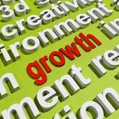 Growth In Word Cloud Means Get Better Bigger And Developed — Stock Photo