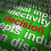 Decision Word Cloud Shows Choice Or Decide — Stock Photo