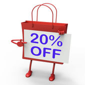 Twenty Percent Reduced On Shopping Bags Shows 20 Bargains — Stock Photo