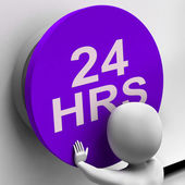 Twenty Four Hours Button Shows 24H Availability — Stock Photo