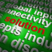 Solution Word Cloud Shows Achievement Resolution Solving And Sol — Stock Photo