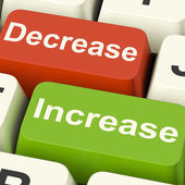 Decrease Increase Keys Shows Decreasing Or Increasing — Stock Photo