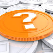 Question Mark Coin Shows Speculation About Finances — Stock Photo
