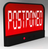 Postponed Clock Means Delayed Until Later Time — Stockfoto