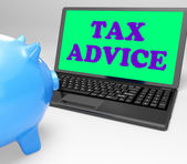 Tax Advice Laptop Shows Professional Advising On Taxation — Stock Photo
