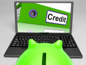 Credit Laptop Means Online Lending And Repayments — Stock Photo