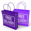 Stock Photo: Free Delivery Sign on Bags Show No Charge To Deliver