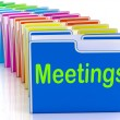 Meetings Folders Means Talk Discussion Or Conference — Stockfoto #40860537