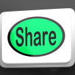 Stock Photo: Share Button Shows Sharing Webpage Or Picture Online