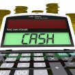 Stock Photo: Cash Calculator Means Finances Savings Or Loan