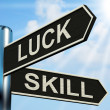 Stock Photo: Luck Skill Signpost Shows Expert Or Fortunate