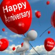 Stock Photo: Happy Anniversary Balloons Shows Cheerful Festivities and Partie