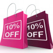 Ten Percent Off On Shopping Bags Shows 10 Bargains — Stock Photo