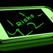 Stock Photo: Risks Smartphone Shows Unpredictable And Risky Investment