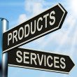 Stock Photo: Products Services Signpost Shows Business Merchandise And Servic
