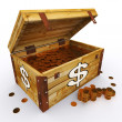 Dollar Chest Of Coins Shows American Prosperity And Economy — Stock Photo