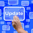Stock Photo: Update Touch Screen Shows Upgrade Updated Version