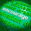 图库照片: Encourage Word Cloud Shows Promote Boost Encouraged