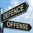 Defence Offense Signpost Shows Defending And Tactics — Foto de stock #40865175