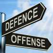 图库照片: Defence Offense Signpost Shows Defending And Tactics