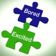 Bored Excited Puzzle Means Exciting And Fun Or Boring — Stock Photo