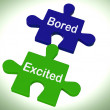 Stock Photo: Bored Excited Puzzle Means Exciting And Fun Or Boring