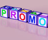 Promo Blocks Mean Special Reduced Price Or Off — Stock Photo