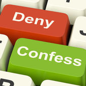 Confess Deny Keys Shows Confessing Or Denying Guilt Innocence — Stock Photo