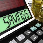 Savings Calculator Means Keeping And Saving Money — Stock Photo