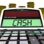 Cash Calculator Means Finances Savings Or Loan — Stock Photo