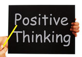 Positive Thinking Blackboard Shows Optimism And Bright Outlook — Stock Photo